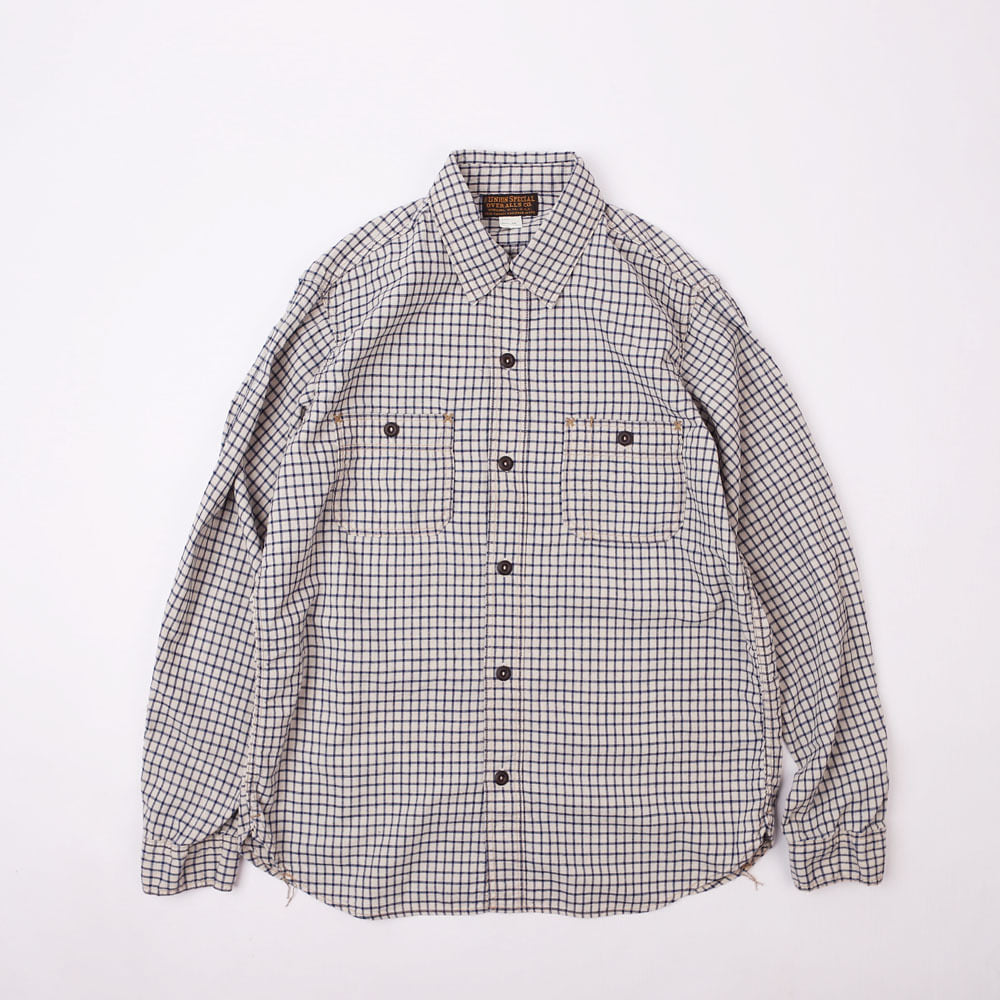 "[Union Special Ovealls]Work Shirt""NEAL""(White x Indigo Small Check)"
