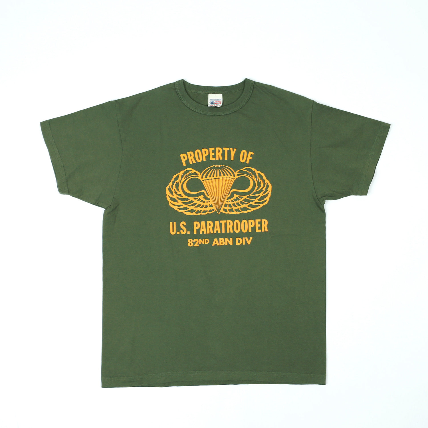 "LOOPWHEEL T-SHIRT ""82ND ABN DIV."" (Olive)"