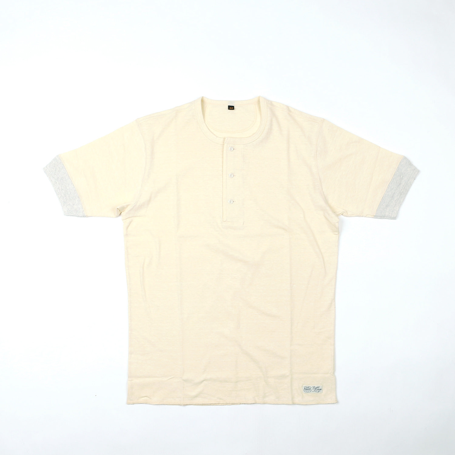 "[PowerWear]""Henley Neck Type S/S Shirt"" (Off White)"