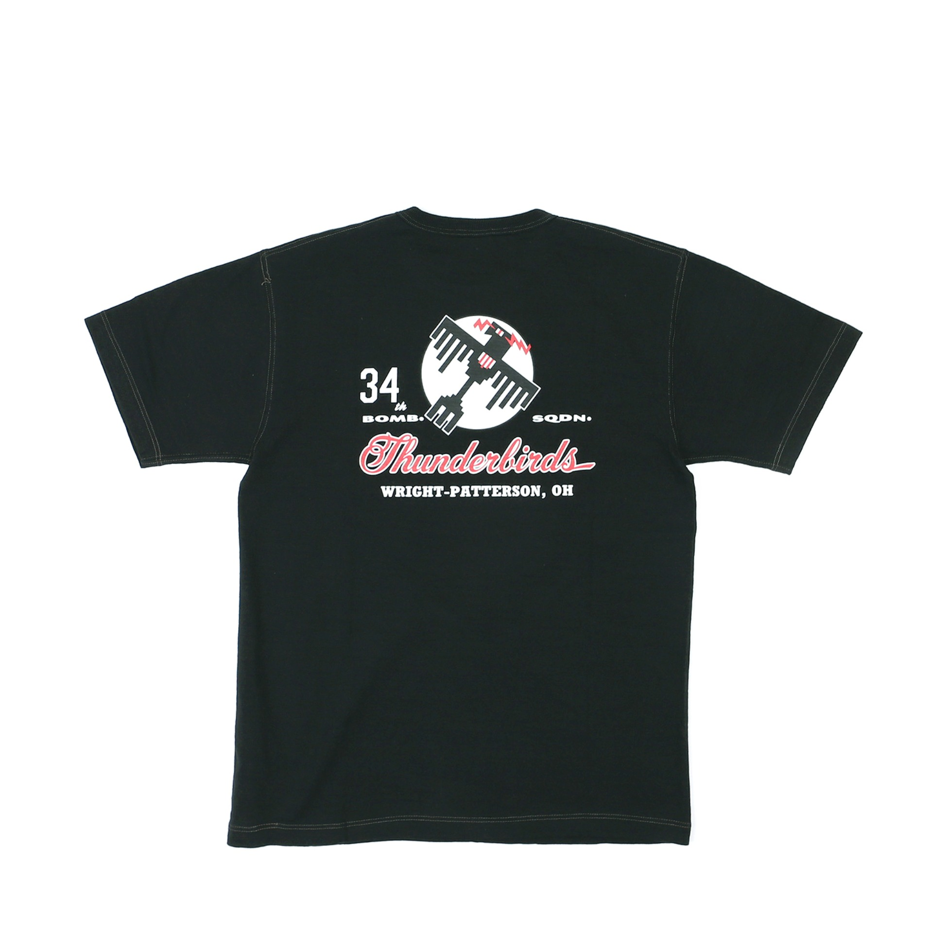 "LOOPWHEEL T-SHIRT ""34th BOMB.SQDN. THUNDER BIRD"" (Black)"